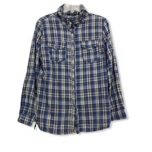 1955 Vintage Brand Plaid Button Up XL Shirt Blue
